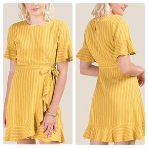 Jillian Ruffled Hem A-Line Striped Dress